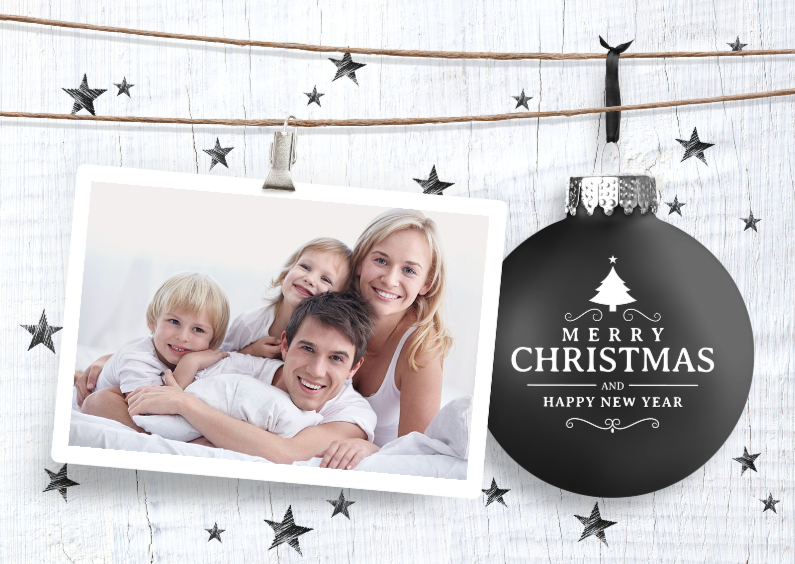 Kerstkaarten - Kerstkaart  zwart met wit hout