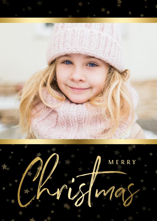 Kerstkaarten - Kerstkaart zwart sterren met gouden accent en foto