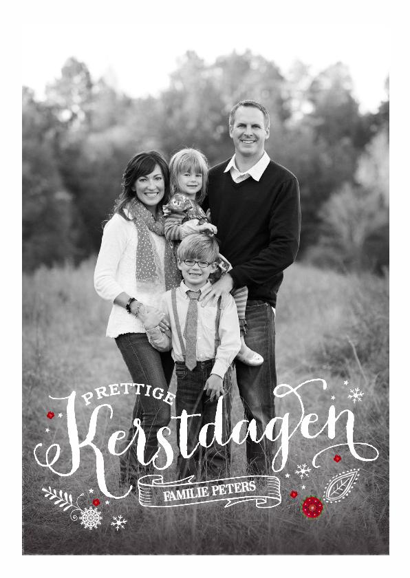 Kerstkaarten - Kerstkaart zwart wit Letters