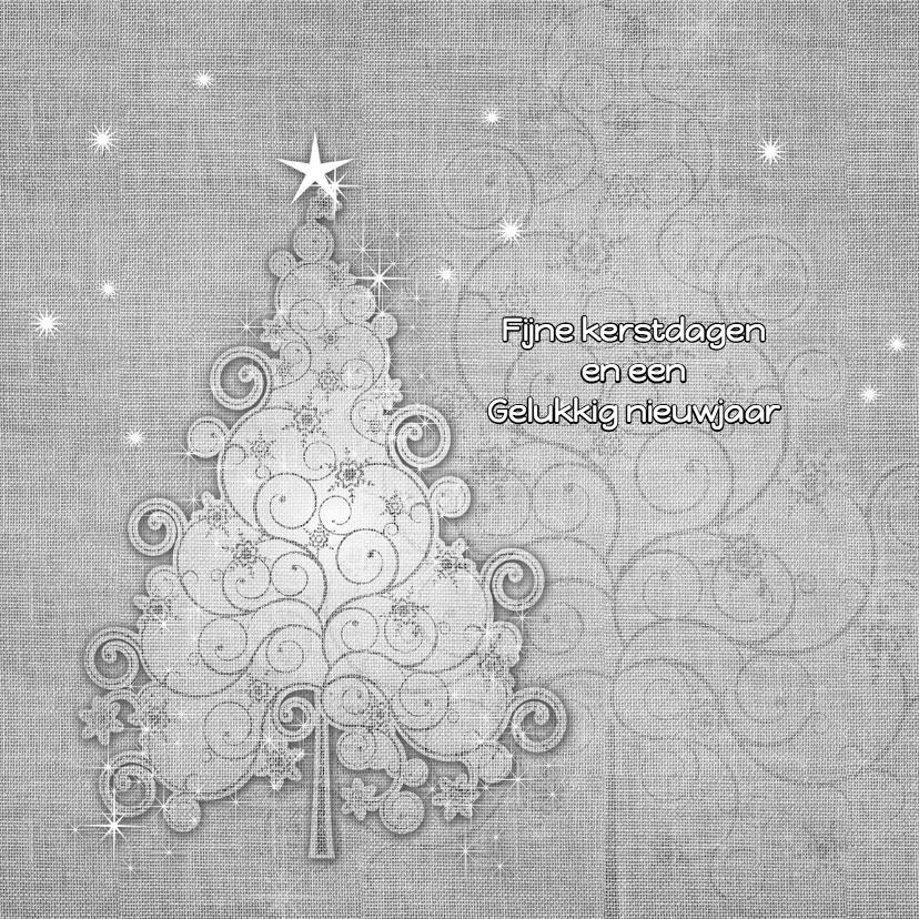 Kerstkaarten - Kerstkaart zwart-wit linnen