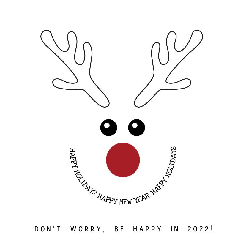 Kerstkaarten - Kerstkaart zwart-wit met grappige illustratie rendier 2022