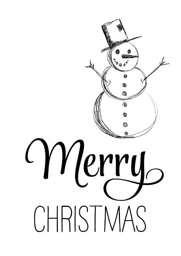 Kerstkaarten - Kerstkaart zwart wit sneeuwpop Merry Christmas