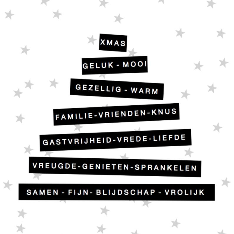 Kerstkaarten - Kerstkaart zwartwit labels boom