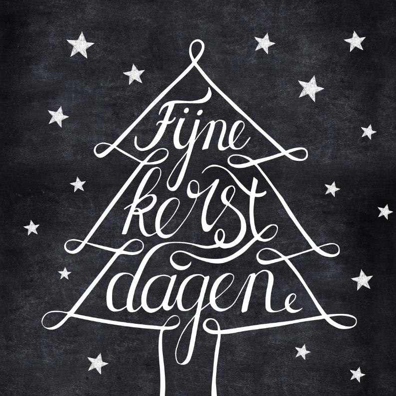 Kerstkaarten - Kerstkaart zwartwitte kerstboom