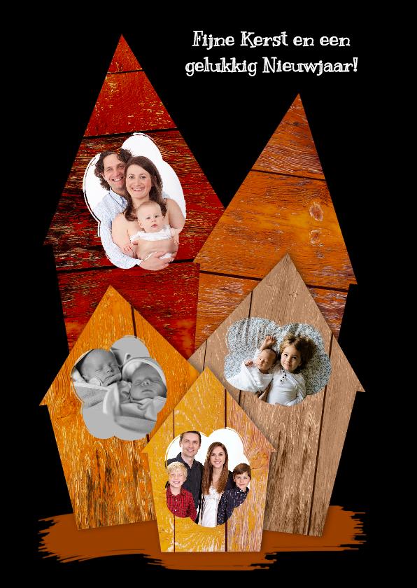 Kerstkaarten - Kerstkaarten houten huisjes zwart