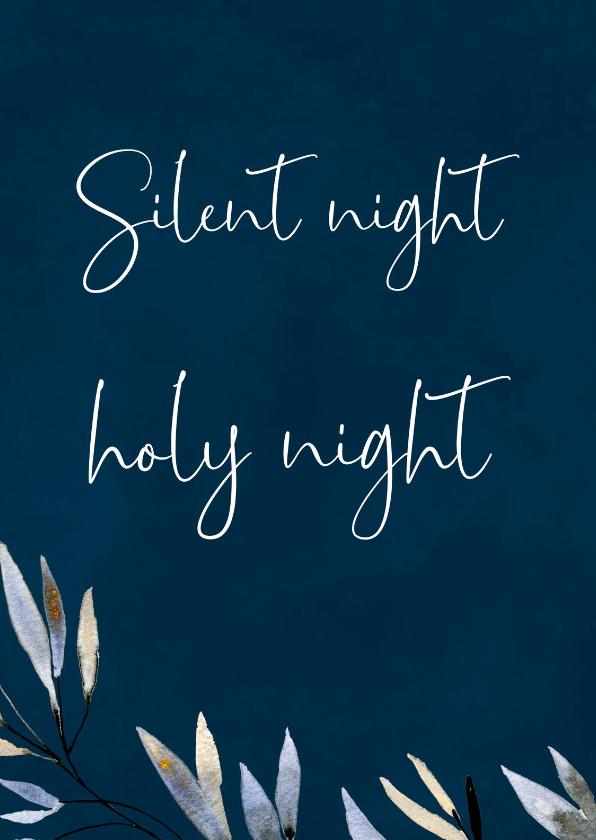 Kerstkaarten - Kerstkaartje Silent Night, donkerblauw