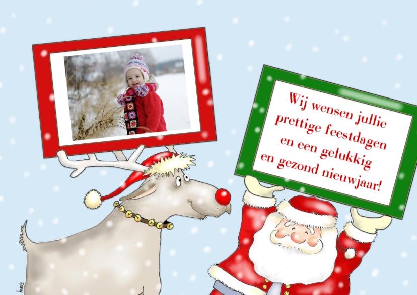 Kerstkaarten - Kerstman en rendier met foto