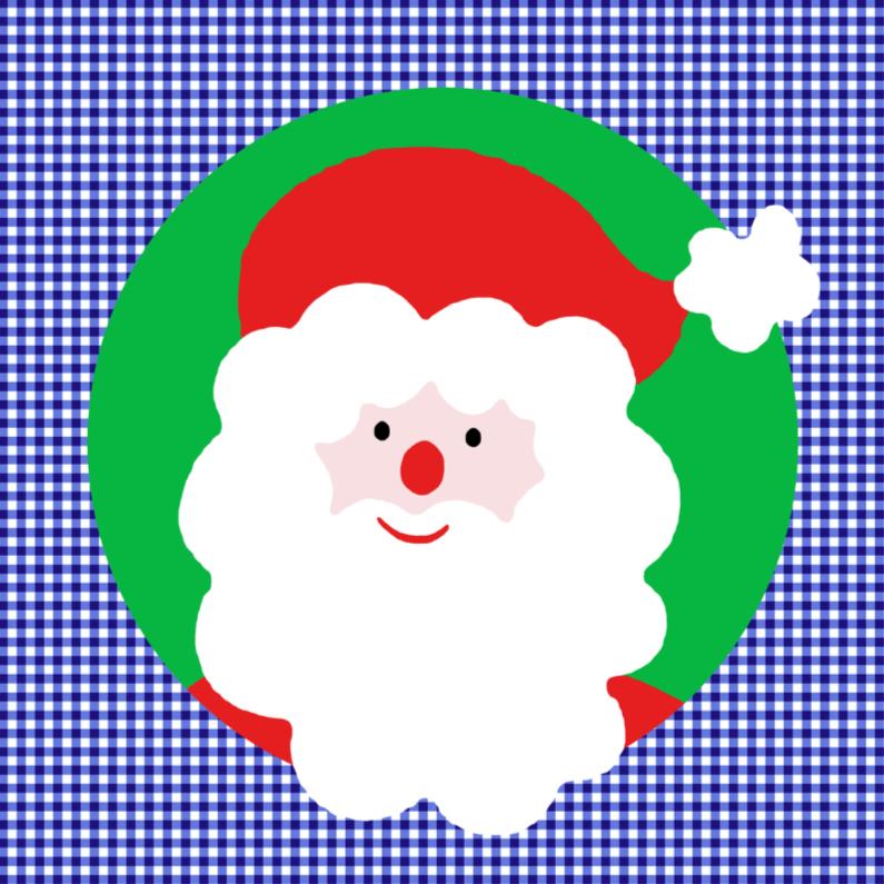 Kerstkaarten - Kerstman op blauw ruitje