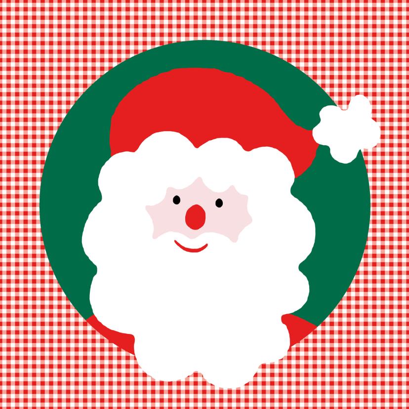 Kerstkaarten - Kerstman op Rode Ruit