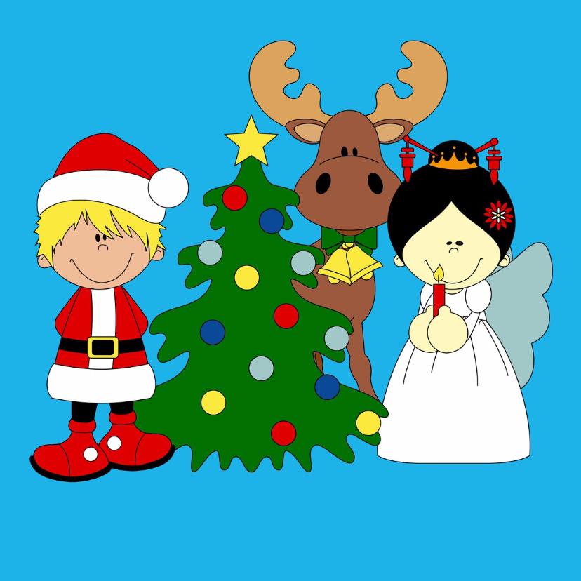 Kerstkaarten - Kerstman, rendier en engeltje!