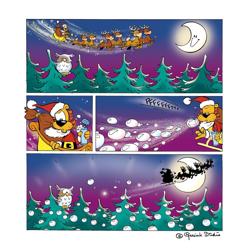 Kerstkaarten - Kerstman strip Loeki in de arreslee