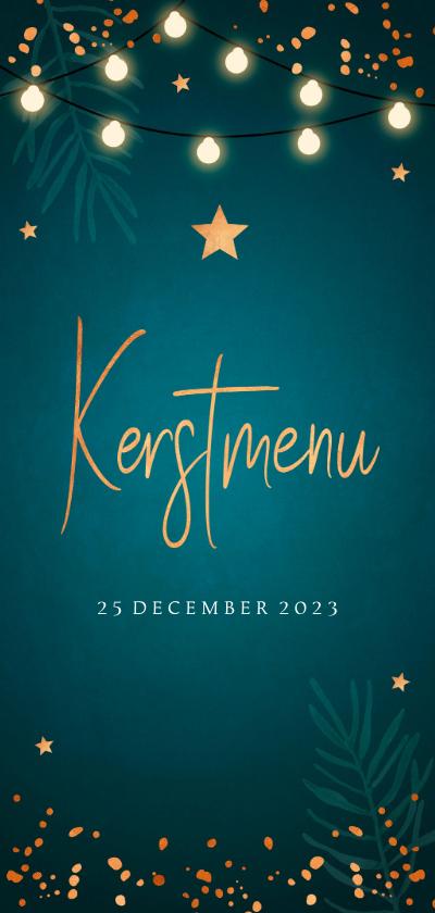 Kerstkaarten - Kerstmenukaart blauw confetti goudlook