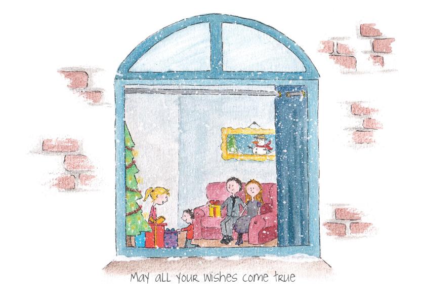 Kerstkaarten - Kerstraam gezin