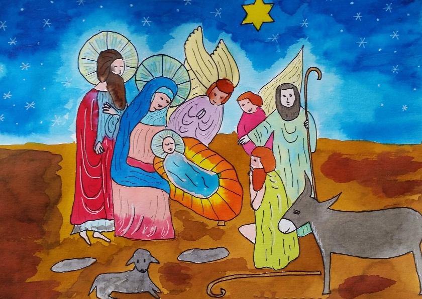 Kerstkaarten - Kerststal met engel en herders