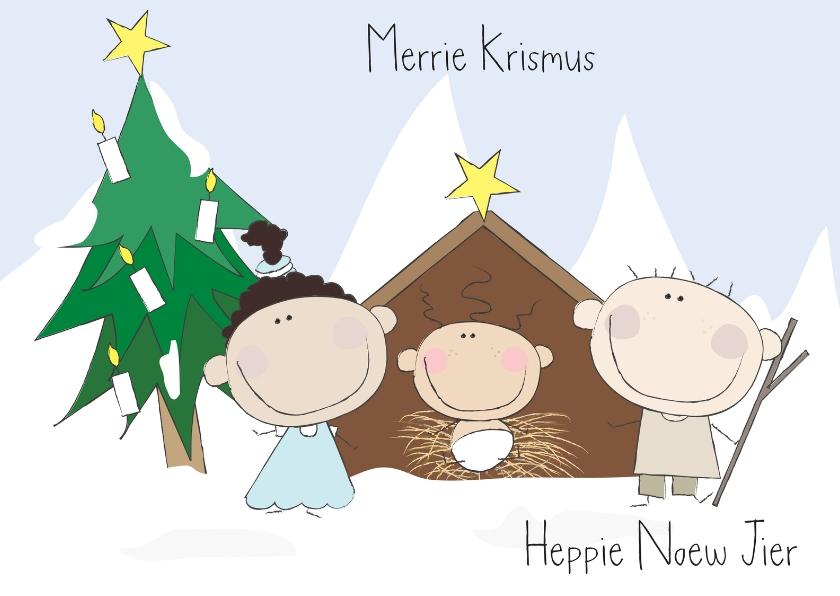 Kerstkaarten - Kerststalletje gezin
