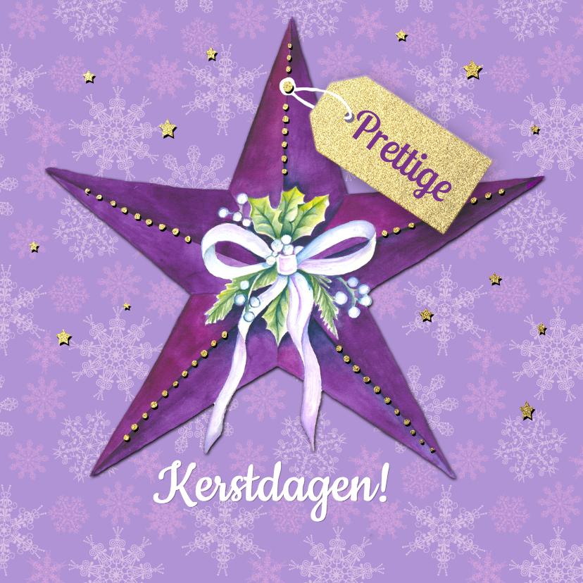 Kerstkaarten - Kerstster paars label