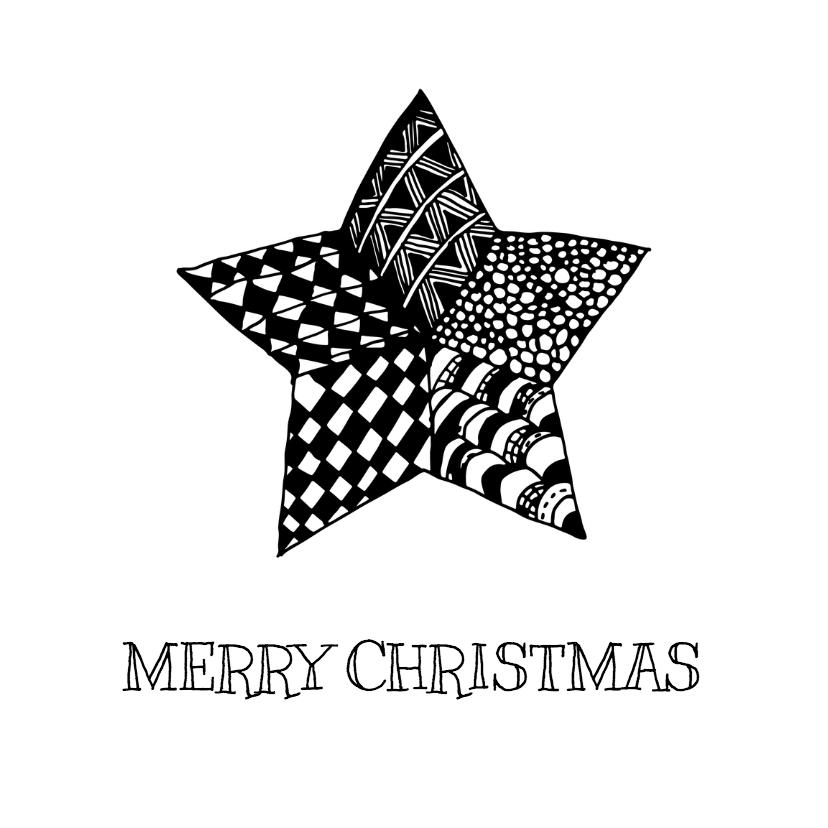 Kerstkaarten - Kerstster Zentangle - DH