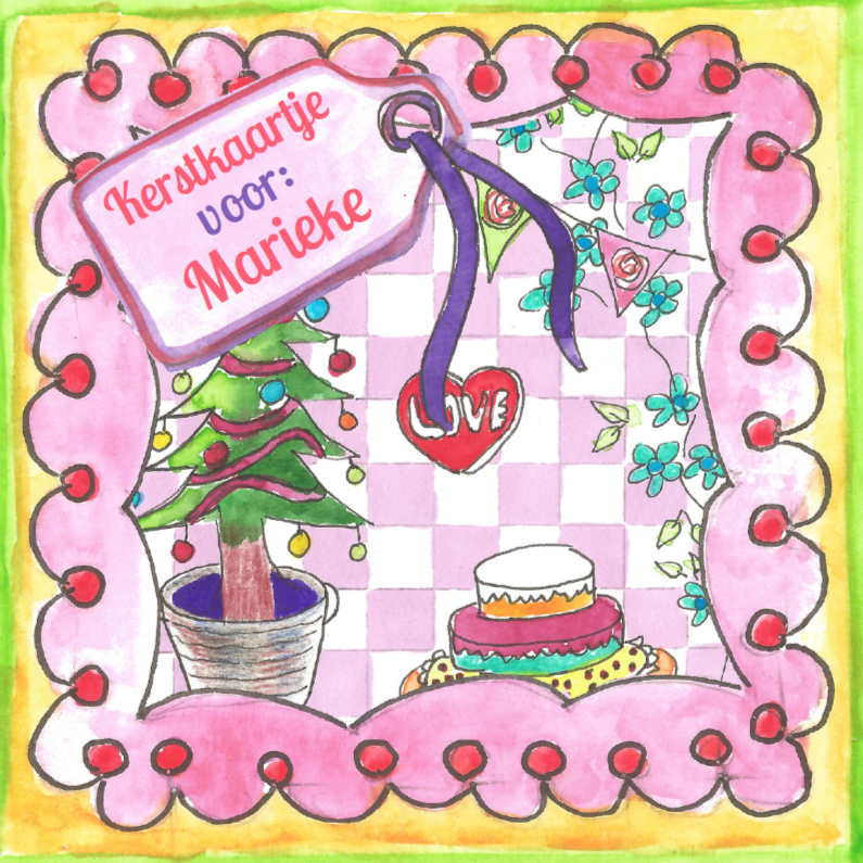 Kerstkaarten - Kersttafereel met label