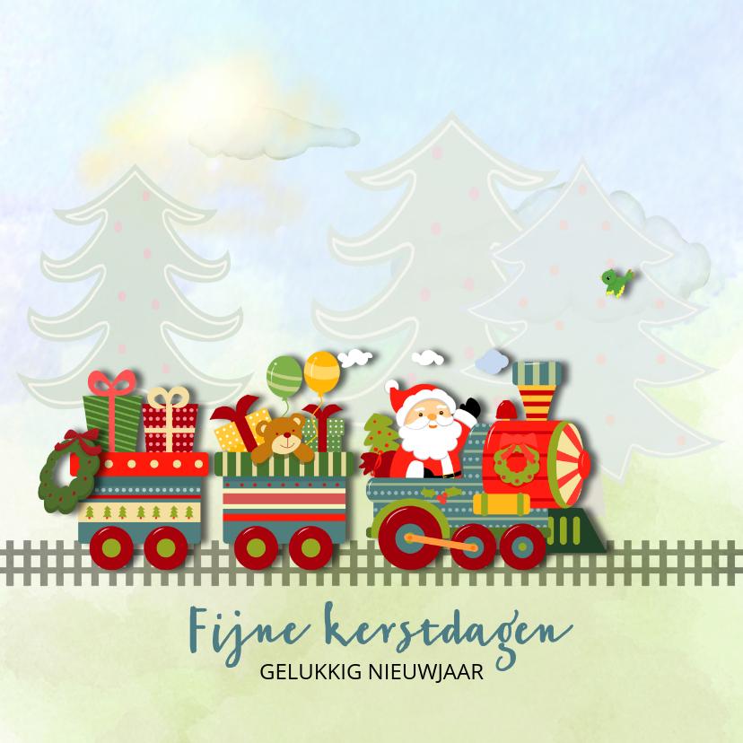 Kerstkaarten - Kersttrein met kerstman