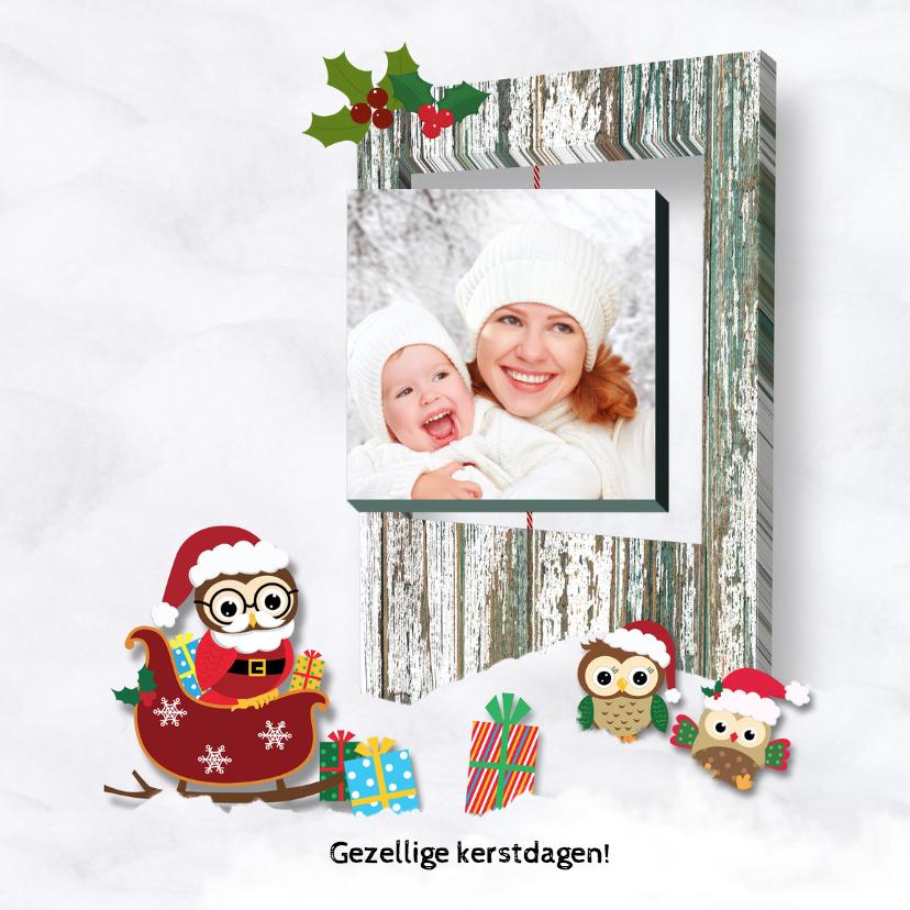 Kerstkaarten - Kerstuitljes in de sneeuw-foto