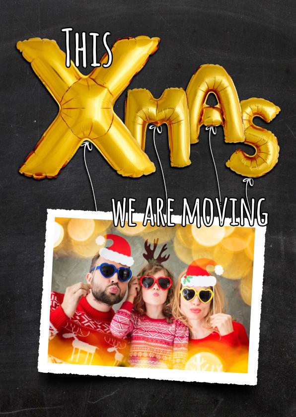 Kerstkaarten - Kerstverhuiskaart ballonnen XMAS goud op krijtbord