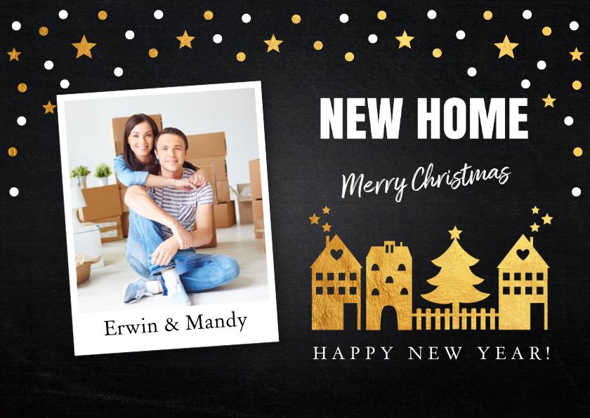 Kerstkaarten - Kerstverhuiskaart foto confetti huisjes goud