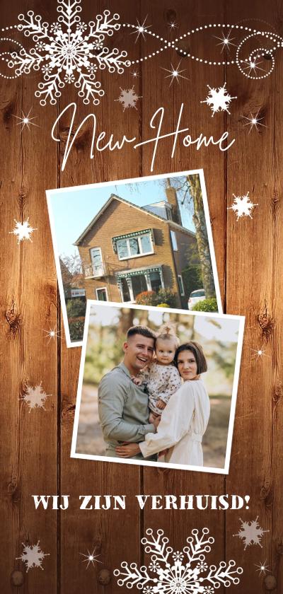 Kerstkaarten - Kerstverhuiskaart foto houtlook sneeuwvlokken