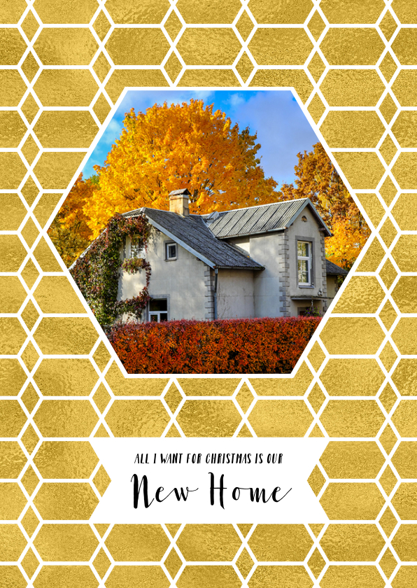 Kerstkaarten - Kerstverhuiskaart goud honingraat en foto huis