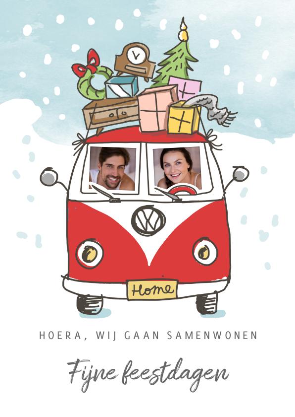 Kerstkaarten - Kerstverhuiskaart met volkswagenbusje en kerstboom op dak