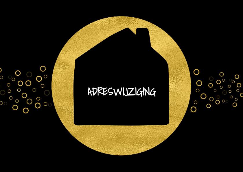Kerstkaarten - Kerstverhuiskaart zwart met goud cirkels en huis