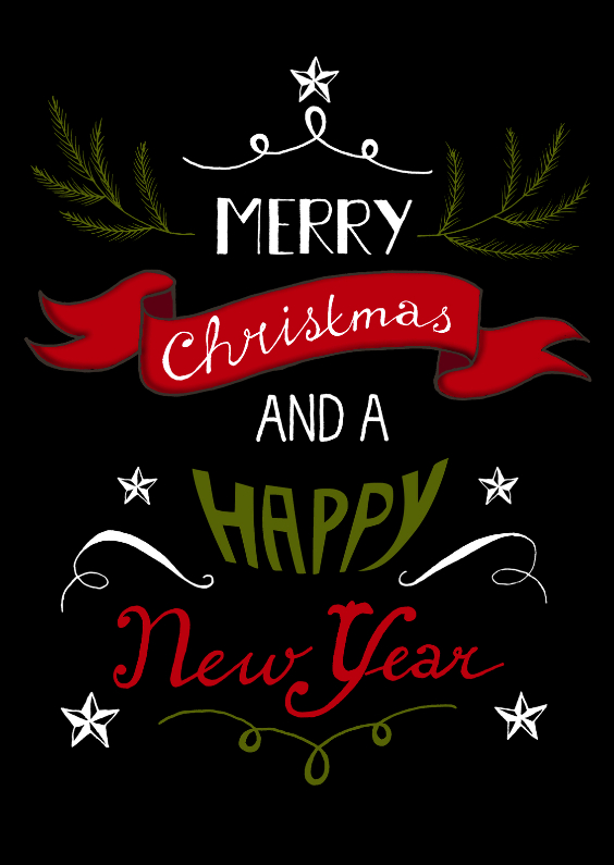 Kerstkaarten - Kerstwens letters op zwart