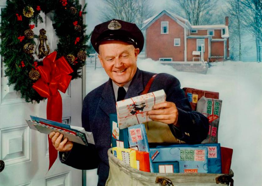 Kerstkaarten - kertskaart Postbode