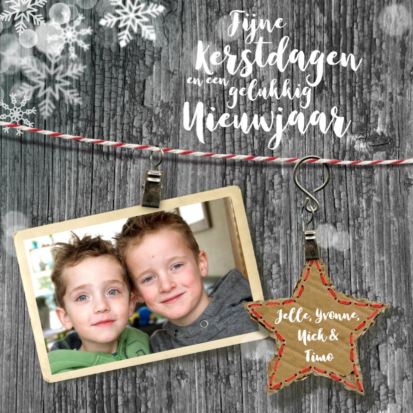Kerstkaarten - kertskaart ster vlokken lijn grijs
