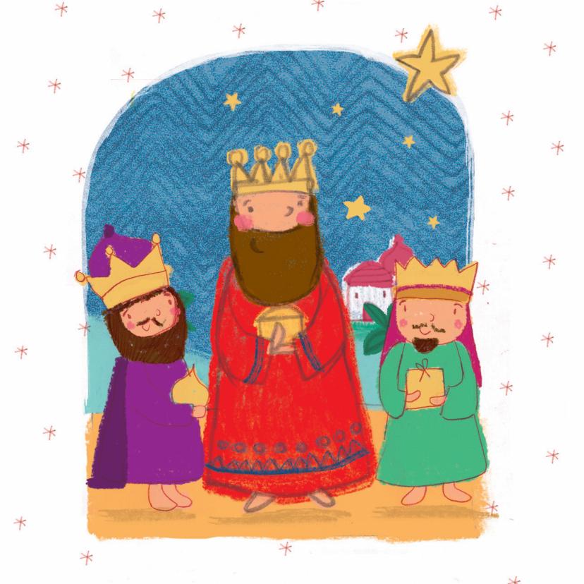 Kerstkaarten - Kinder kerstkaart met de drie koningen