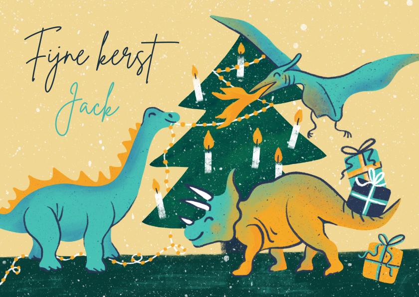 Kerstkaarten - Kinderkerstkaart dino's versieren boom