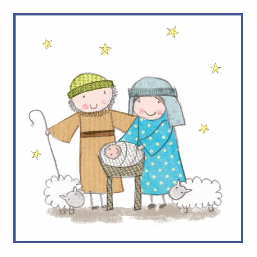 Kerstkaarten - Kinderkerstkaart Jozef en Maria en kindeke Jezus
