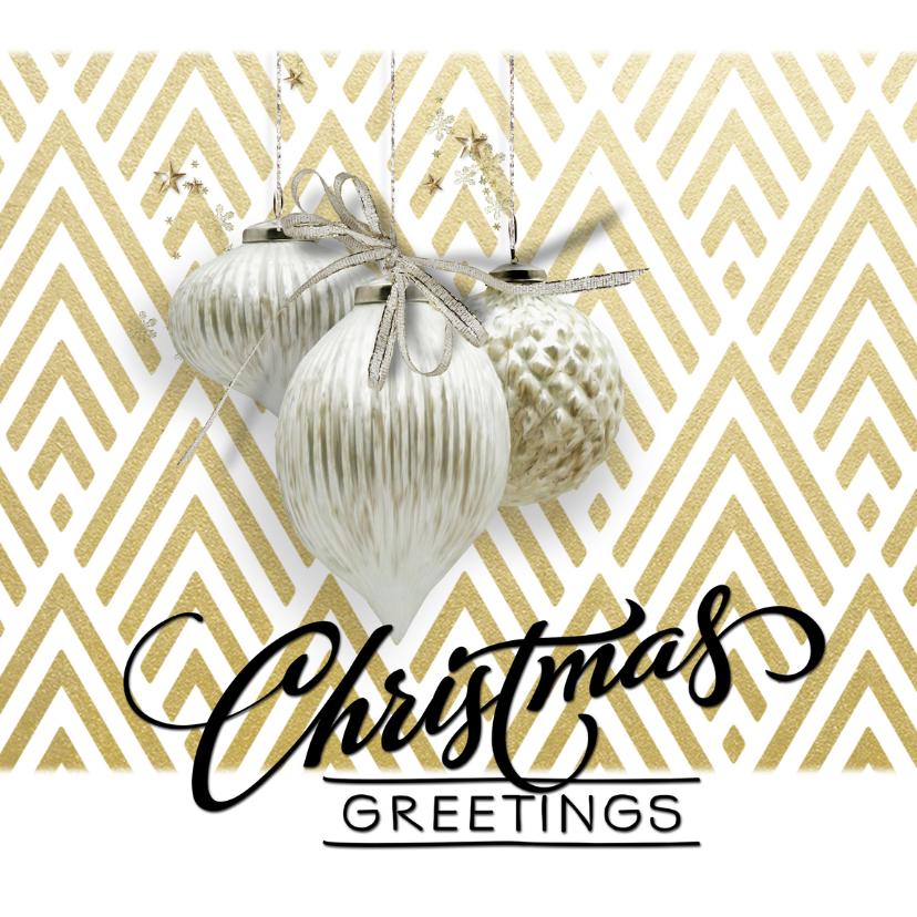 Kerstkaarten - Klassiek moderne kerstkaart  chevron goud wit