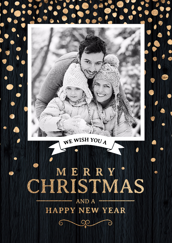 Kerstkaarten - Klassieke foto kerstkaart zwart