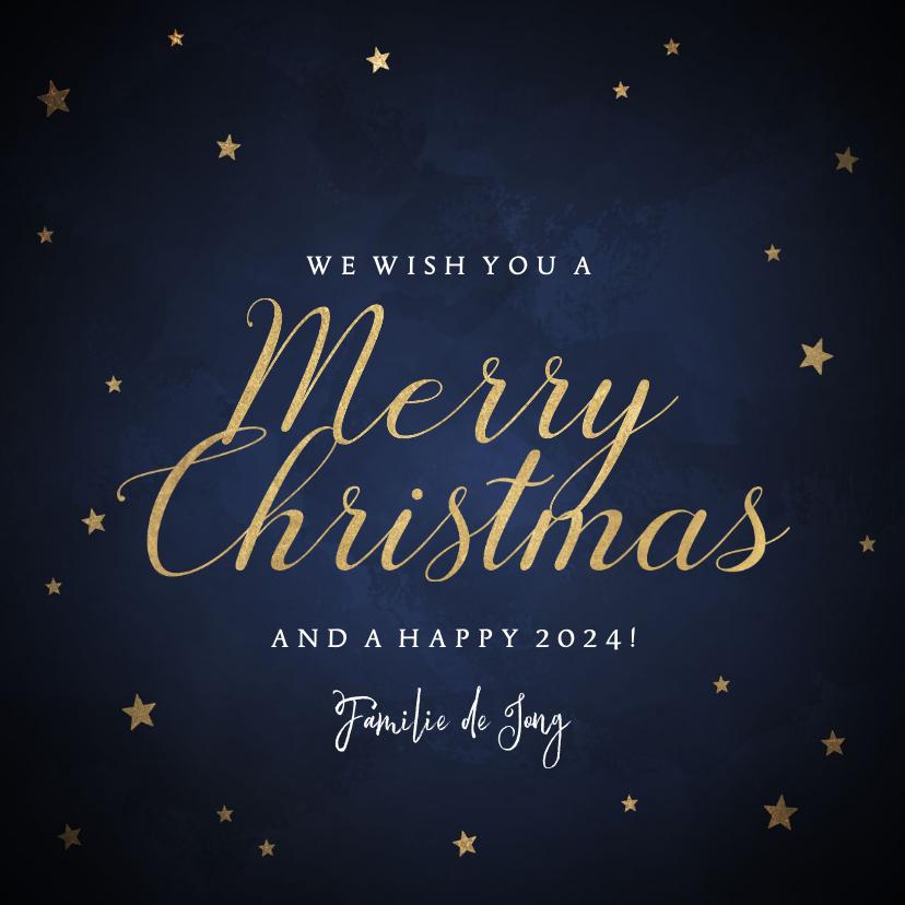Kerstkaarten - Klassieke kerstkaart gouden sterren 'Merry Christmas'
