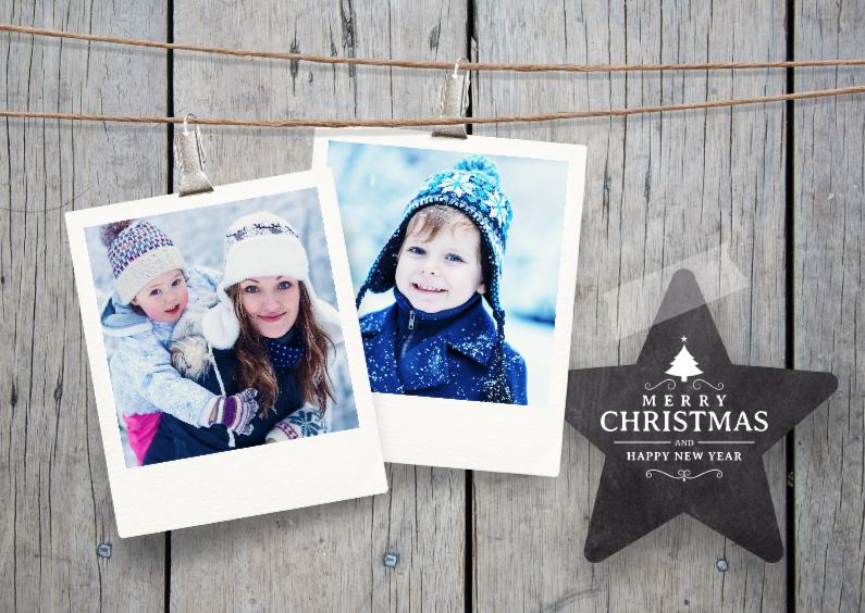 Kerstkaarten - Klassieke kerstkaart hout fotos