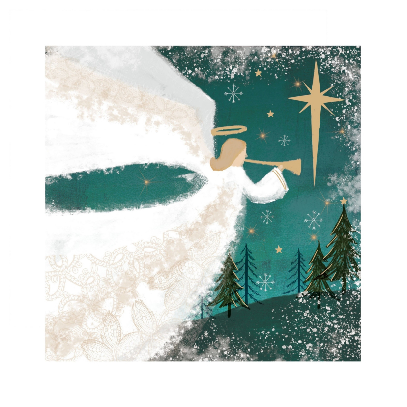 Kerstkaarten - Klassieke kerstkaart met Engel spelend op bazuin