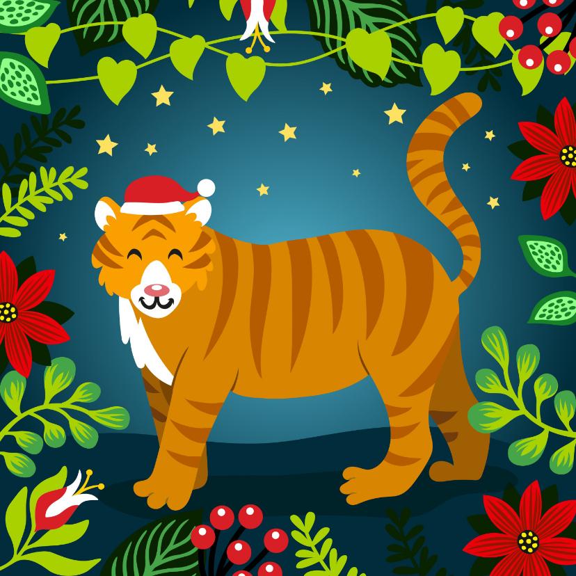 Kerstkaarten - Kleurrijke kerstkaart met tijger in de jungle