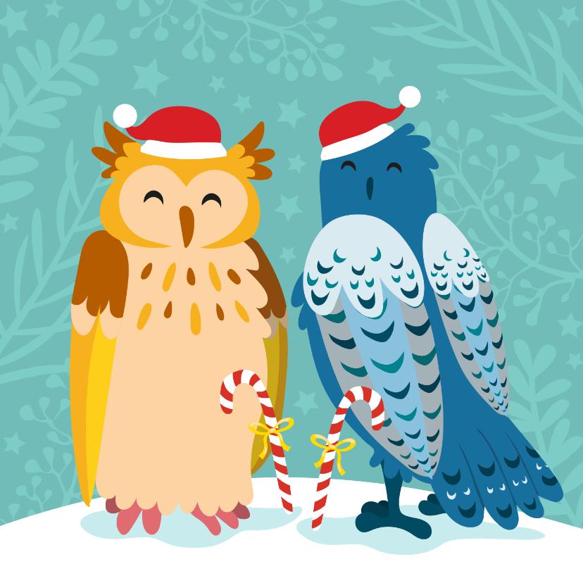 Kerstkaarten - Kleurrijke kerstkaart met uilen in de sneeuw