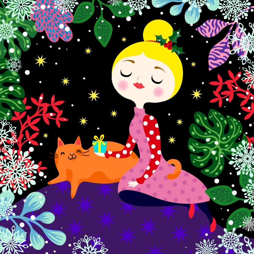 Kerstkaarten - Kleurrijke kerstkaart met vrolijke dame en kat