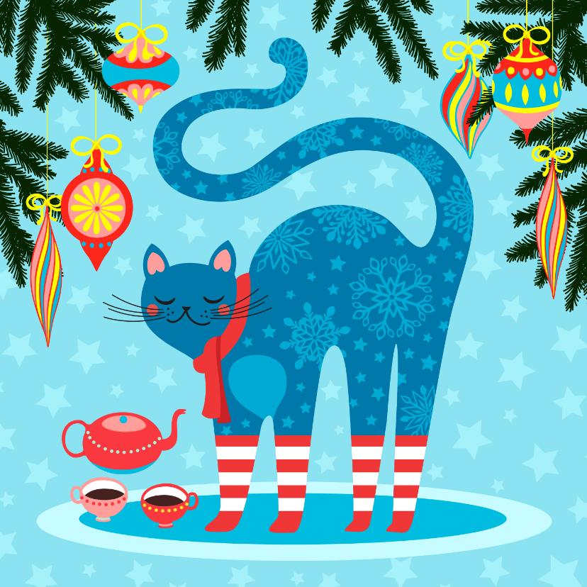 Kerstkaarten - Kleurrijke kerstkaart met vrolijke kat