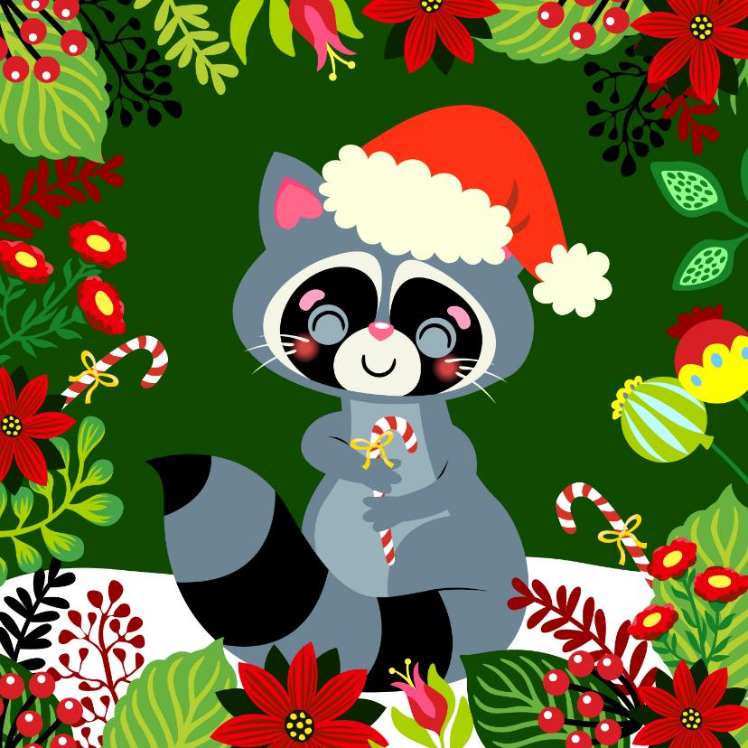 Kerstkaarten - Kleurrijke kerstkaart met wasbeer en bloemen