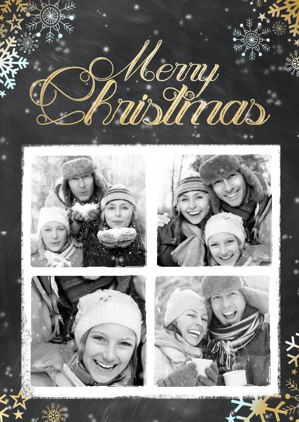Kerstkaarten - Krijtbord kerst 4 foto's