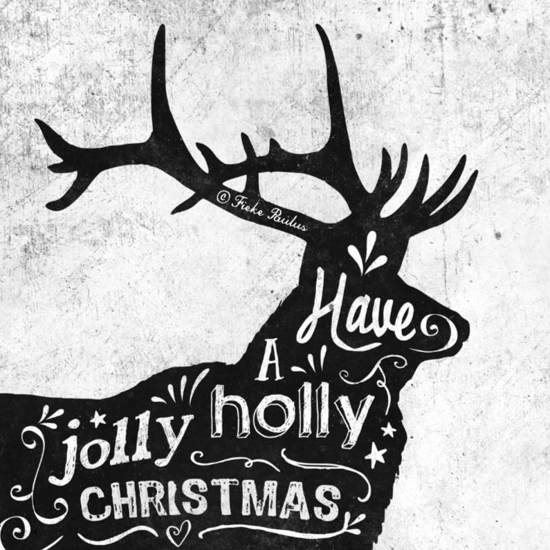 Kerstkaarten - Krijtbord - oh deer