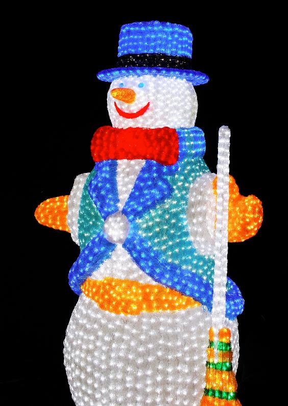 Kerstkaarten - Lampjes 2 - Sneeuwpop - OT