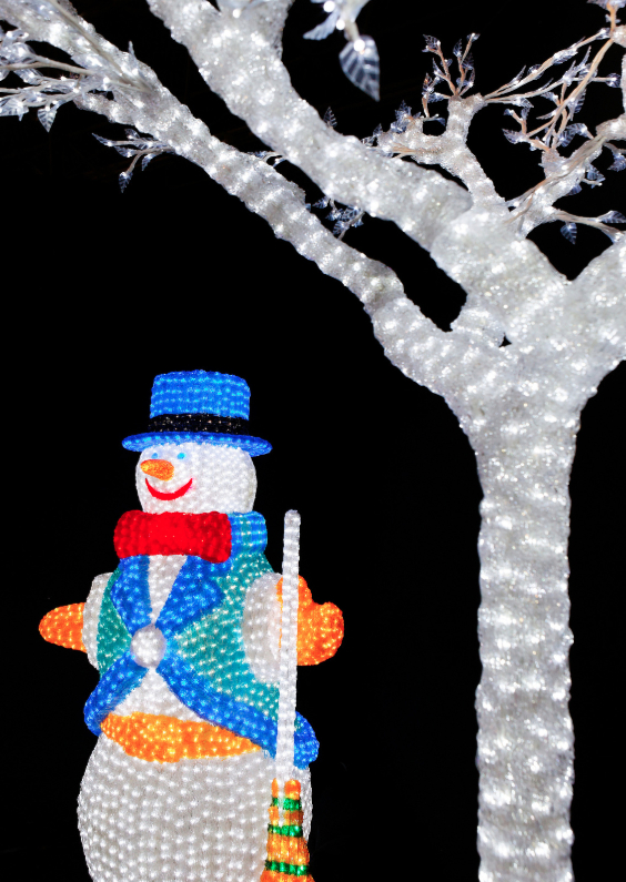 Kerstkaarten - Lampjes 3 - Sneeuwpop - OT